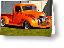 Neat Vintage Chevrolet Truck In Bright Orange Greeting Card