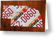 Nebraska License Plate Map Art Greeting Card