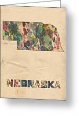 Nebraska Map Vintage Watercolor Greeting Card