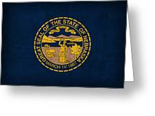 Nebraska State Flag Art On Worn Canvas Greeting Card