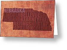 Nebraska Word Art State Map On Canvas Greeting Card by Design Turnpike