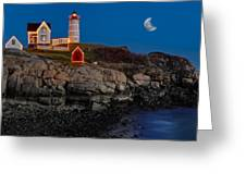 Neddick Lighthouse Greeting Card by Susan Candelario