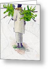 Negro Man Carrying Plantains On Pole Greeting Card