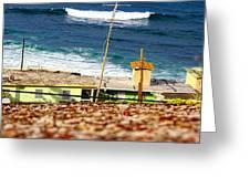 Neighborhood Between City Wall And Ocean Greeting Card by Sandra Pena de Ortiz