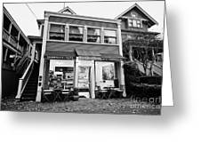 neighbourhood grocery and small deli in west end Vancouver BC Canada Greeting Card by Joe Fox