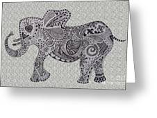 Nelly The Elephant Grey Greeting Card