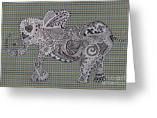 Nelly The Elephant Tartan Greeting Card