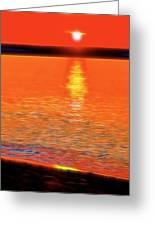 Neon Beach Sunset Greeting Card