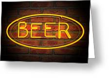 Neon Beer Sign On A Face Brick Wall Greeting Card