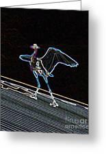 Neon Blue Heron Greeting Card