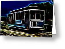 Neon Cable Car Greeting Card