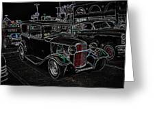 Neon Car Show Greeting Card