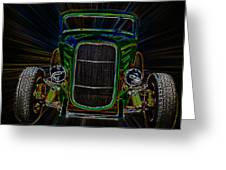 Neon Deuce Coupe Greeting Card