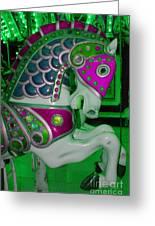 Neon Green Carousel Horse Greeting Card