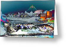Neon Lights Of Spokane Falls Greeting Card by Carol Groenen