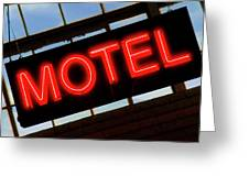 Neon Motel Sign Greeting Card