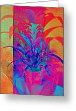 Neon Pineapple Plant - Vertical Greeting Card