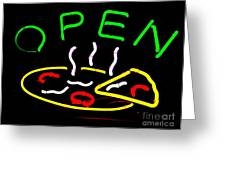 Neon Pizza Greeting Card