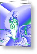 Neon Water Dragon Ninja Boy Greeting Card