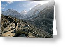 Nepal A Trekker On The Everest Base Greeting Card