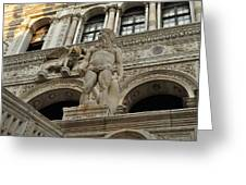 Neptune And The Lion Atop The Giants Staircase Greeting Card