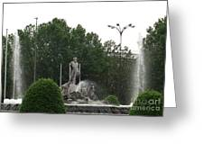 Neptune Fountain In Madrid Greeting Card