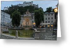 Neptune Fountain In Salzburg Austria Greeting Card