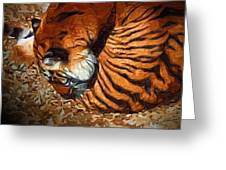 Nestled Tiger Greeting Card