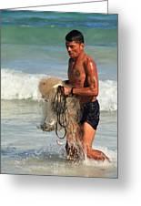 Net Fisherman In Tulum Greeting Card