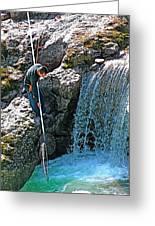 Net Fishing In Bulkley River In Moricetown-british Columbia-canada Greeting Card