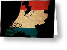 Netherlands Grunge Map Outline With Flag Greeting Card