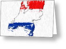 Netherlands Painted Flag Map Greeting Card