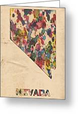 Nevada Map Vintage Watercolor Greeting Card