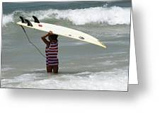 Never Too Little Never Too Big To Surf Greeting Card