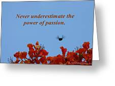 Never Underestimate The Power Of Passion Greeting Card