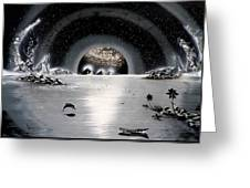 New Age Moonset Greeting Card