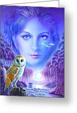 New Age Owl Girl Greeting Card