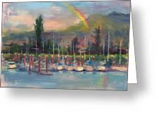 New Covenant - Rainbow Over Marina Greeting Card
