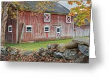 New England Barn Square Greeting Card