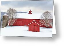 New England Barns Square Greeting Card