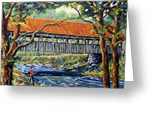 New England Covered Bridge By Prankearts Greeting Card by Richard T Pranke