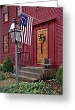 New England Door And Betsy Ross Flag Greeting Card