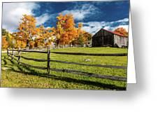 New England Farm With Autumn Sugar Greeting Card