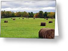 New England Hay Bales Greeting Card