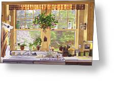 New England Kitchen Window Greeting Card