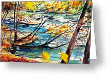 New England Leaves Along The River Greeting Card