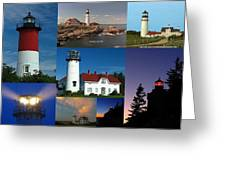 New England Lighthouse Collection Greeting Card by Juergen Roth