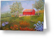 New England Red Barn Summer Greeting Card