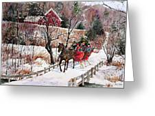 New England Sleighride Greeting Card