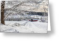 New England Winter Farms Greeting Card